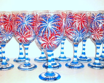 July 4th Fireworks Red White & Blue Set of 12 - 21 oz Hand Painted Wine Glasses Wedding Bridesmaids Bachelorette Party Mother of Bride