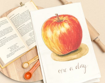 Apple - Food Pun Flour Sack Towel - Hand Lettered - Watercolor - Kitchen Towel - Gift - Cotton Tea Towel - Fruits & Veggies - Produce