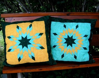 Lonestar Pillow Covers in green and yellow