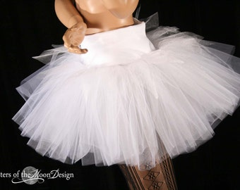 Winter Fairy adult tutu tulle skirt White sparkle extra poofy dance bridal party costume run club gogo -All Sizes - Sisters of the Moon