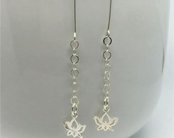 Lotus Earrings Sterling Silver Lotus Earrings Sterling Silver Earrings Lotus Drop Earrings Silver Drop Earrings Mothers Day Gift for Her