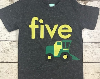 Backhoe tractor shirt, tractor birthday shirt, tractor party, tractor decor, farm party, boys birthday shirt, tractor birthday tee, backhoe