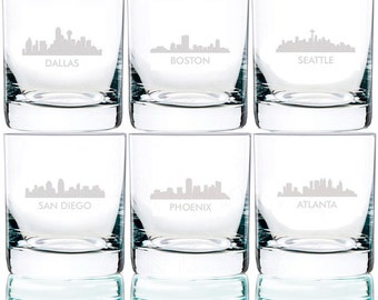 City Skyline Collection Engraved Rocks Glasses, 11 oz.