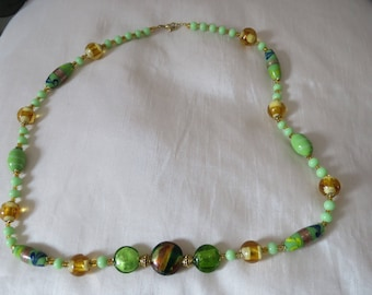 Handmade vintage green and gold  lamp work with necklace