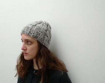 Hand knit Chunky Beanie, Soft wool hat, Grey Marl, Womens Winter Hat