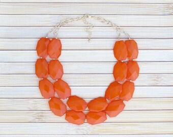Chunky Orange Beaded Necklace, Bib Necklace, Collar Necklace, Multistrand Double Strand Layered Necklace, Large Big Chunky Orange Choker