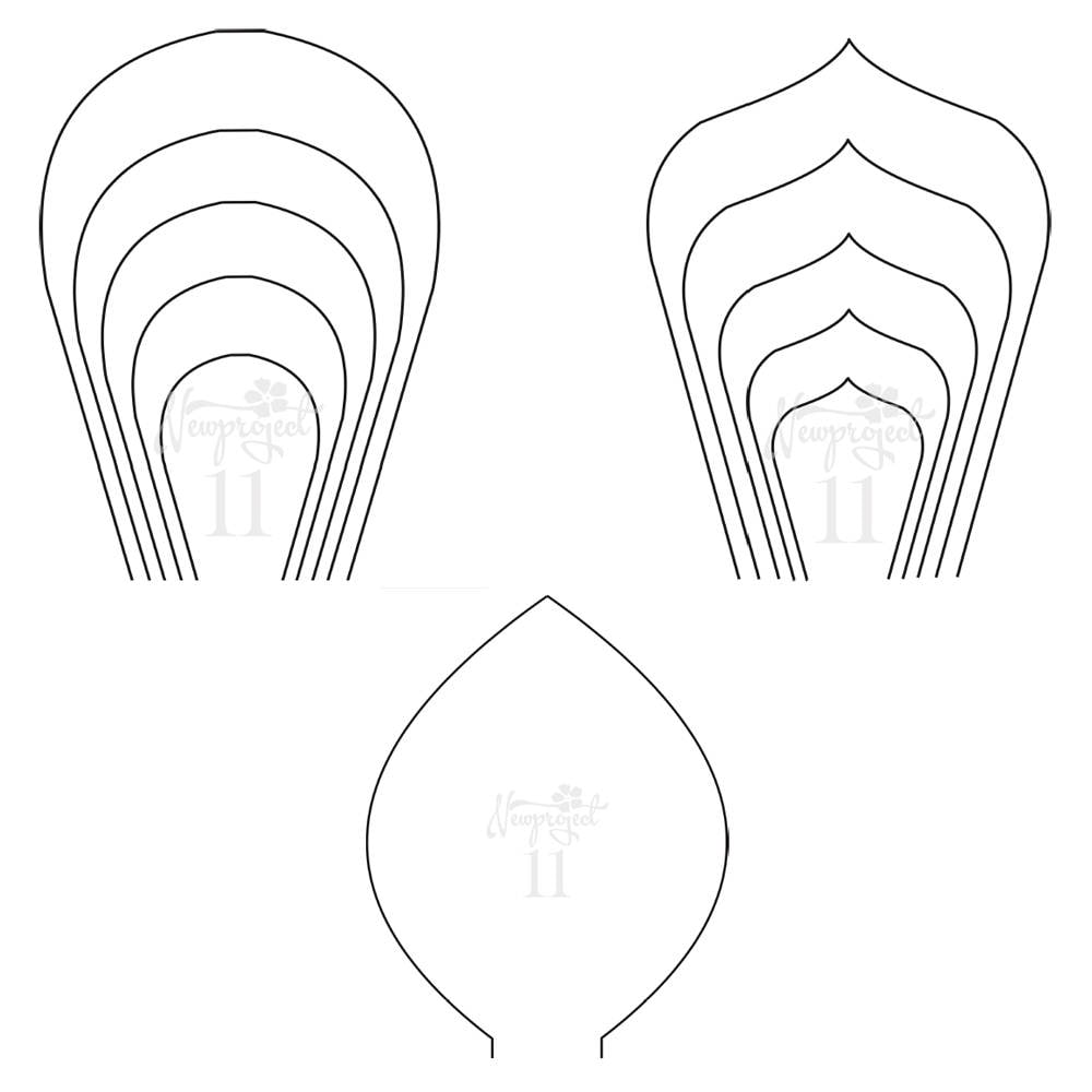 PDF. Set of 2 Flower Templates and 1 Leaf Template .Giant
