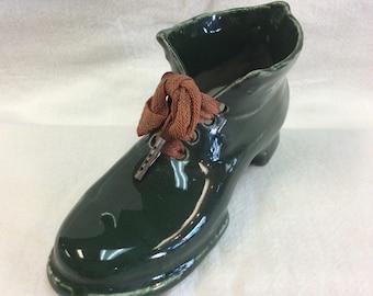 German Porcelain Bisque Dark Green Shoe with Original Laces c.1900-1910