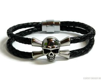 Skull bracelet leather bracelet braided bracelet mens leather bracelet black leather bracelet double strand bracelet   RLB5-49-01