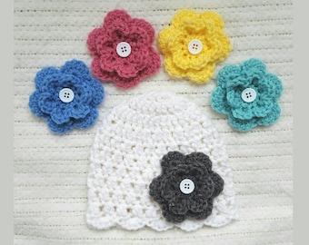 Baby girl hat with interchangable flowers, baby girl gift, baby girl hat, baby shower gift, crochet baby beanie, newborn photo prop