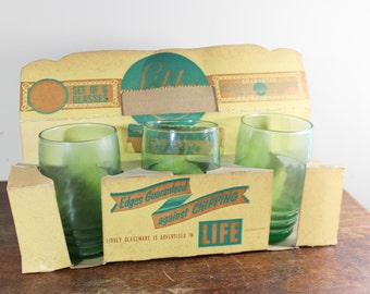 Set of 6 Mid Century Green Tumblers Glasses by Libbey Glass Retro Glassware With Box