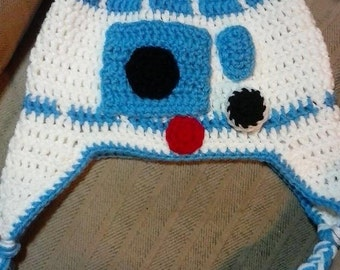 Star Wars R2D2 Inspired Hat with Ear Flaps