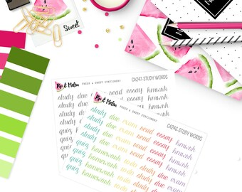 RAINBOW  Study Words Stickers | 48 Kiss-Cut Stickers | CA246