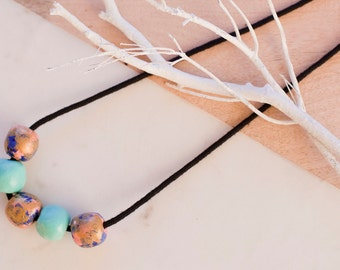 Waterlilies: Hand painted clay bead necklace