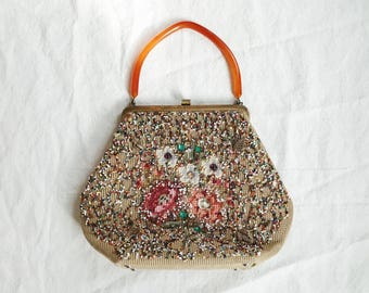 1950's Souré New York Beaded Lucite Handbag