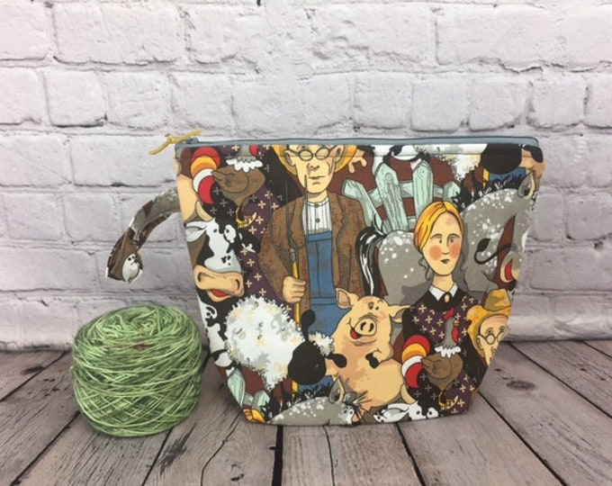 American Gothic- Behind the scenes Print w/ Full length pocket, Knitting project bag, Crochet project bag,  Zipper Project Bag, Yarn bowl