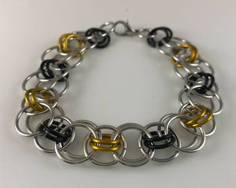 Sale 25% off Black Yellow and Silver Helm Chain Chainmaille Bracelet