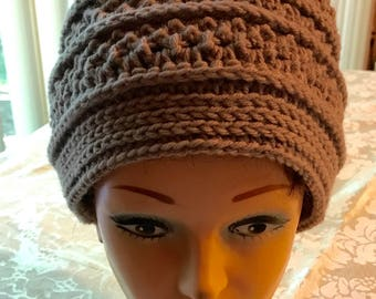 Crochet Pattern-Textured Beanie, Taupe Color, Women's Crochet Hat