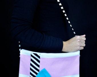 striped  multicolor bow handbag