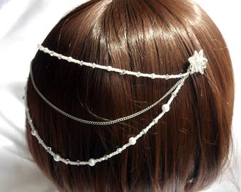 silver bridal hair piece, Silver flower hair chain, Pearl head chain, Bridal hair chain, Silver hair drape, Silver flower hair accessory,