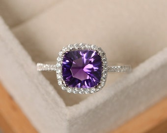 Amethyst ring, engagement ring, sterling silver, gemstone ring amethyst, purple amethyst ring