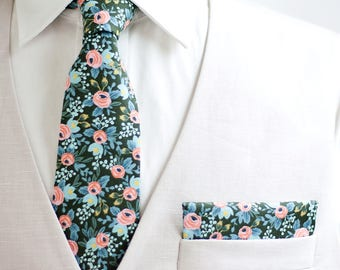 Necktie, Neckties, Mens Necktie, Neck Tie, Floral Neckties, Groomsmen Necktie, Groomsmen Gift, Rifle Paper Co - Rosa In Forest