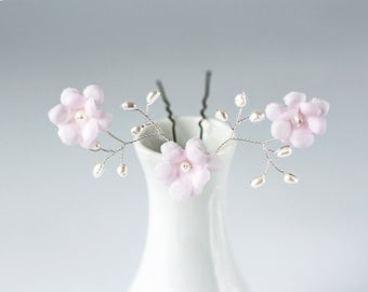 82 Floral hair pin, Hair pin flowers, Pink flower hair pins, Hair flowers, Hair accessories, Hair pins with flowers, Pearl hair pins, Bridal
