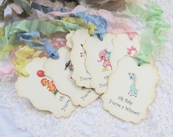 Baby Shower Prize Tags - Nursery Rhyme Mother Goose - Set of 9 - Oh Baby You're a Winner Large Gift Hang Favor Game Tags