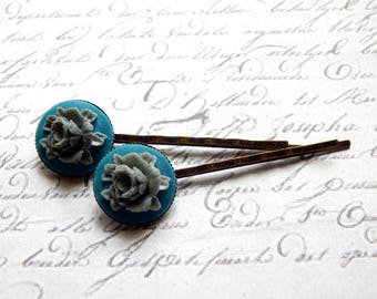Grey and Blue Flower Bobby Pin Set - Flower Hair Pins -  Vintage Style Hair Accessories