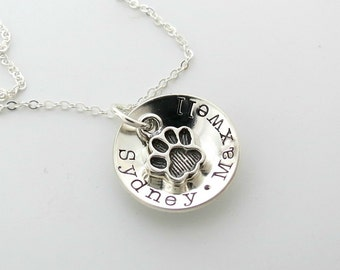Personalized Paw Necklace - Dog Name - Cat Name - Personalized Jewelry - Mom to Dogs - Mom to Cats - Pet Jewelry - Engraved - Womens