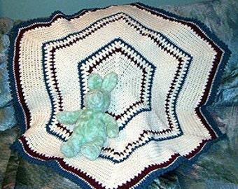 Crochet Pattern, Hexagon Baby Afghan