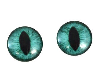 20mm Teal Cat Glass Eyes Pair of Cabochons - Cat or Dragon Eyes for Doll or Jewelry Making - Set of 2