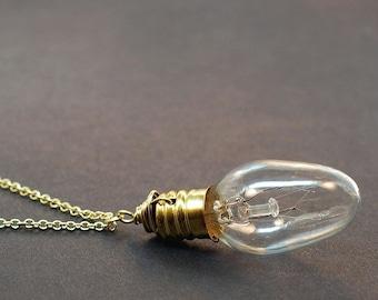 Steampunk Necklace- Brass Upcycled Light Bulb Jewelry, Steampunk Jewelry, Lightbulb Necklace, Light Bulb Necklace, Gift Idea