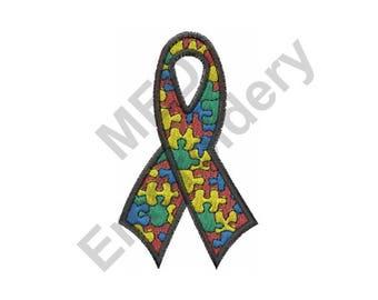 Autism - Machine Embroidery Design, Ribbon, Autism Ribbon