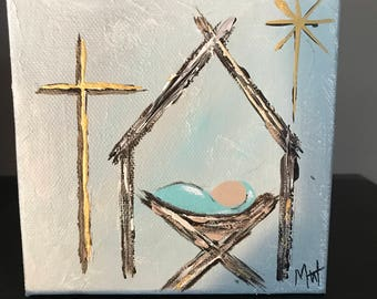Stable Baby Jesus Cross 5x5 acrylic painting gallery wrapped canvas