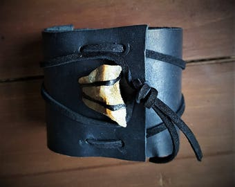 Leather Cuff with Raw Stone/Crysal