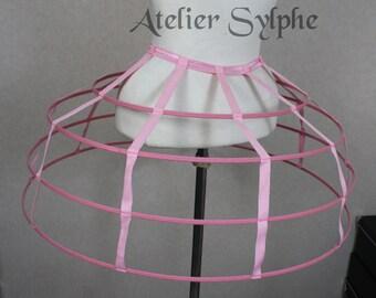 Pink color Crinoline hoop cage skirt pannier 4 rows elastic waist simple cage
