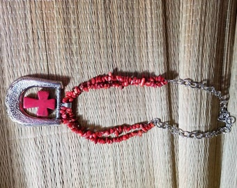 Handmade Coral Cross Necklace