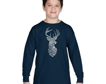 Boy's Long Sleeve T-shirt - Types of Deer Created using Popular types of Deer