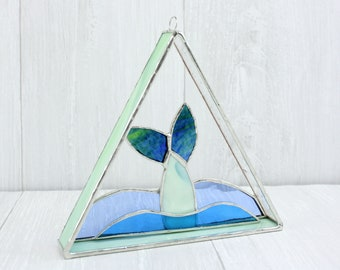 Stained Glass Mermaid Tail Suncatcher, Water Sprite Window Hanging, 3d Geometric Sun Catcher, Beachy Window Decoration, Ocean Decor