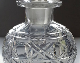 Crystal Perfume Cologne Bottle, Faceted Stopper, Diamond Pattern