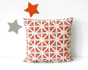 Rust Grey Pillow Cover, Cream Geometric 18x18 Couch Cushion Cover, Burnt Orange Throw Pillow, Bedroom Sham, Waverly Accent Pillow Case
