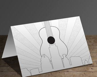 Austin Guitar - Greeting Card Coloring Page
