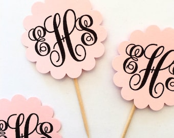 Custom Monogram Toothpicks / Cupcake Toppers (12 Count)