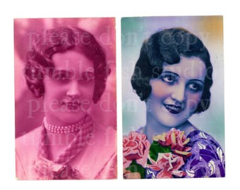 Set of 2 old French postcards - Pretty Ladies