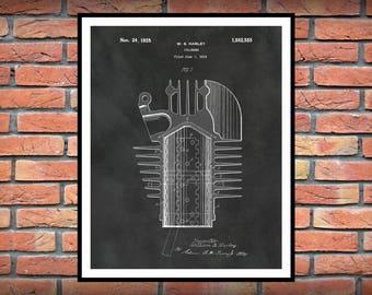 1919 Harley Cylinder Patent Print - Harley Poster - Harley Davidson Decor - Motor Bike - Hells Angels - Man Cave Decor - Harley Motorcycle