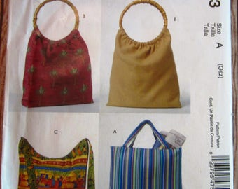 Easy Sew 4 Styles of Lined Bags with Inside Pocket McCalls Pattern M4753 UNCUT