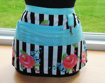 Handmade Vendor Apron  Utility Craft Farmers Market Black White Stripe Turquoise Polka Dot