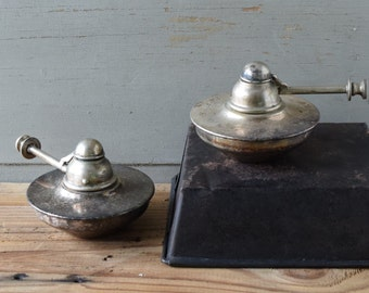 Vintage English Spirit Burner. 2 Available. Retro Picnic Supplies For Chafing Dishes, Vintage Displays Photo Prop Candle Holders. Repurpose!