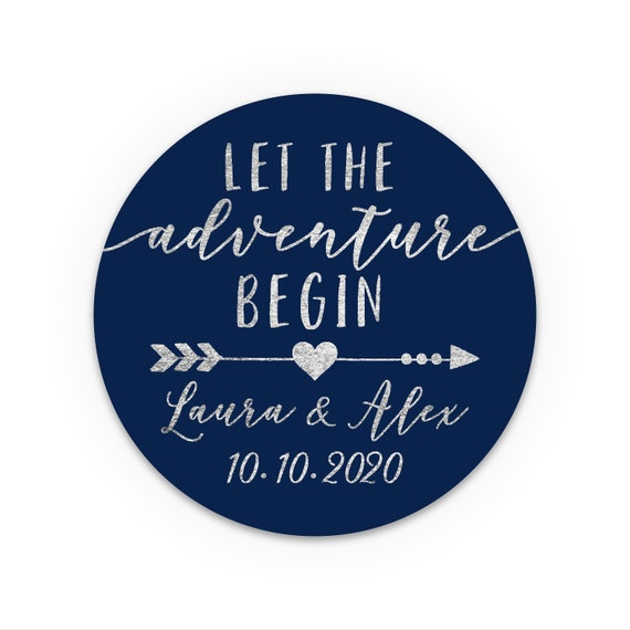 Wedding stickers for mason jars, Let the adventure begin wedding, Wedding stickers personalized for favors, Wedding favours for guests